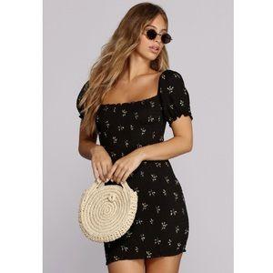 Windsor endless sunshine mini dress puff sleeve
